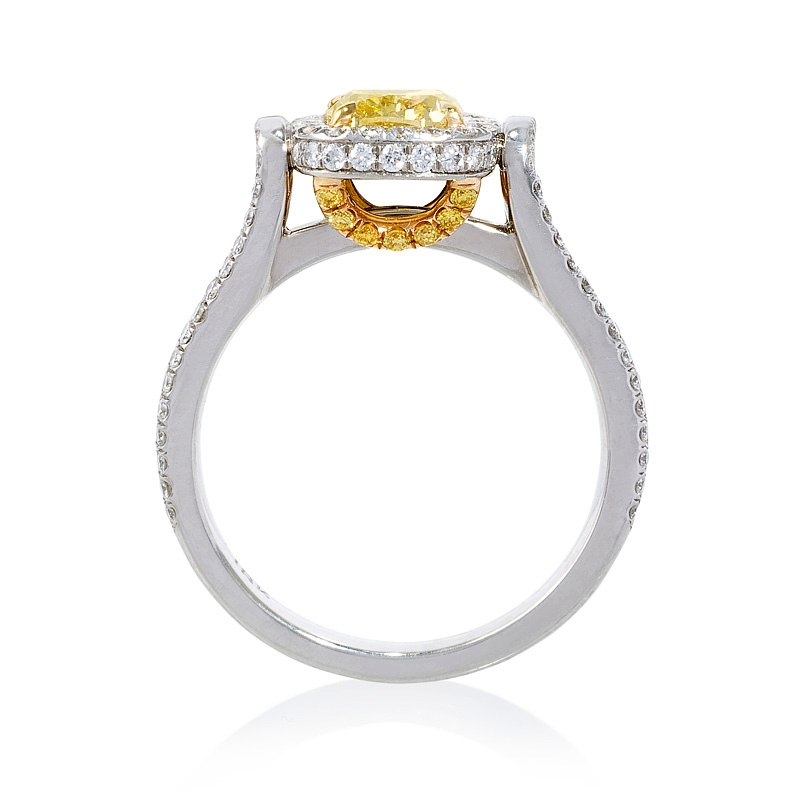 1 66ct certified platinum and 18k yellow gold