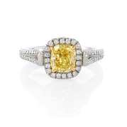 GIA Certified Diamond Platinum and 18k Yellow Gold Engagement Ring