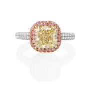 GIA Certified Diamond Platinum and 18k White Gold Engagement Ring