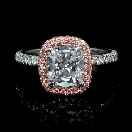 GIA Certified Diamond Platinum and 18k Rose Gold Engagement Ring