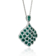 1.18ct Diamond and Emerald 18k White Gold Pendant