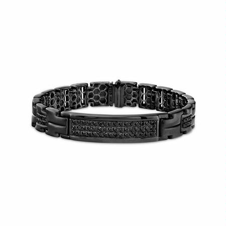 Men's Black Sterling Silver Black Diamond Bracelet