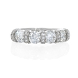 1.53ct Diamond Antique Style 18k White Gold Wedding Band Ring