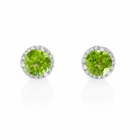 Diamond and Peridot 14k White Gold Earrings