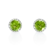 .10ct Diamond and Peridot 14k White Gold Earrings