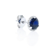 .08ct Diamond and Blue Corundum 14k White Gold Halo Earrings
