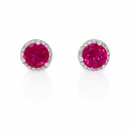 Diamond and Red Corundum 14k White Gold Earrings