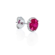 .08ct Diamond and Red Corundum 14k White Gold Earrings