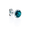 .09ct Diamond and Green Corundum 14k White Gold Earrings
