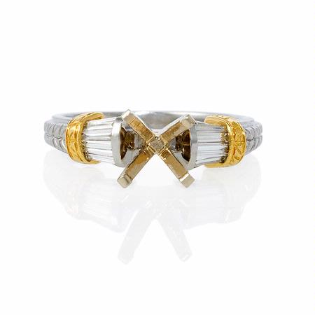 Diamond Antique Style Platinum and 18k Yellow Gold Engagement Ring Setting
