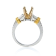 .29ct Diamond Antique Style Platinum and 18k Yellow Gold Engagement Ring Setting