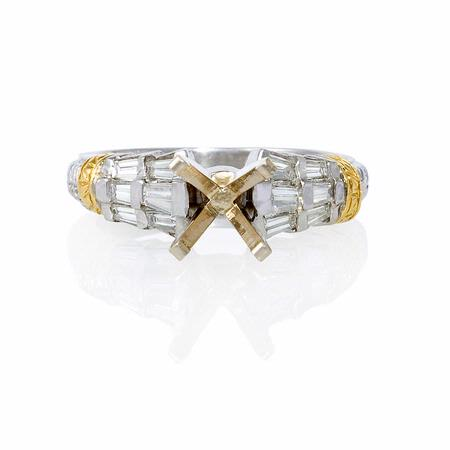 .57ct Diamond Antique Style Platinum and 18k Yellow Gold Engagement Ring Setting