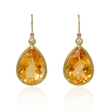.10ct Diamond and Citrine 14k Yellow Gold Dangle Earrings