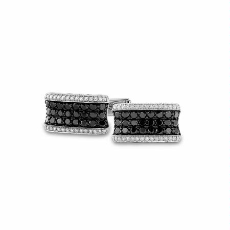 Men's Diamond 14k White Gold Cuff Links