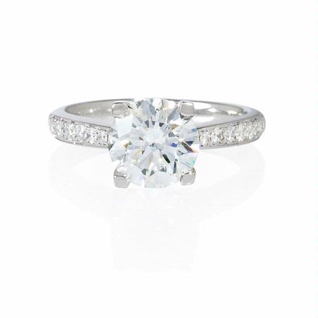 Diamond 18k White Gold Cathedral Engagement Ring Setting