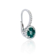 .51ct Diamond and Emerald 18k White Gold Dangle Earrings