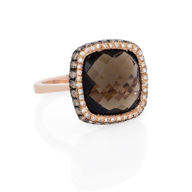 53ct diamond and smokey topaz 14k rose gold ring