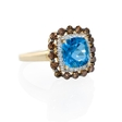 .69ct Diamond and Blue Topaz 14k Yellow Gold Ring