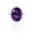 .77ct Diamond and Purple Amethyst 14k White Gold Ring