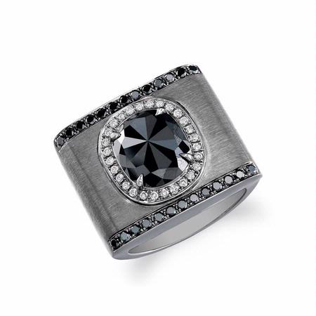 Men's 18k Brushed Black Gold Black and White Diamond Ring