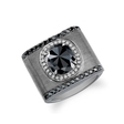 .51ct Men's 18k Brushed Black Gold Black and White Diamond Ring