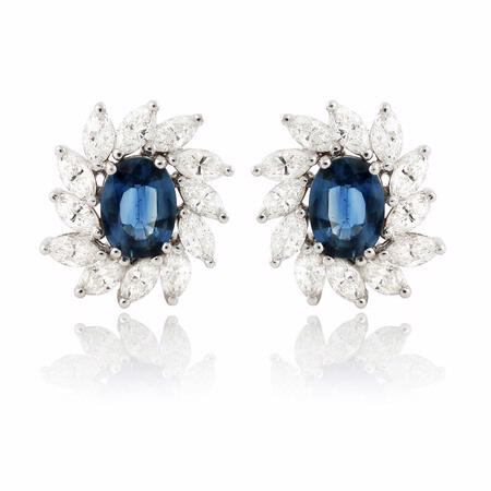 3.39ct Diamond & Blue Sapphire 18k White Gold Earrings