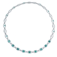 2.31ct Diamond and Emerald 18k White Gold Necklace
