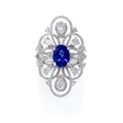1.91ct Diamond and Tanzanite 18k White Gold Ring