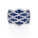 Diamond and Sapphire 18k White Gold Scallop Edge Ring