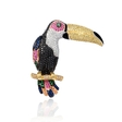 .70ct Diamond and Sapphire 18k White Gold Tucan Brooch Pin