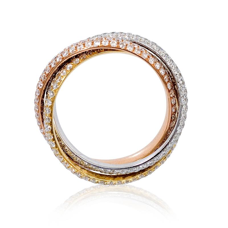 319ct diamond 18k three tone gold ring