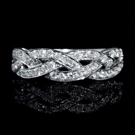 Diamond Braid 18k White Gold Wedding Band Ring