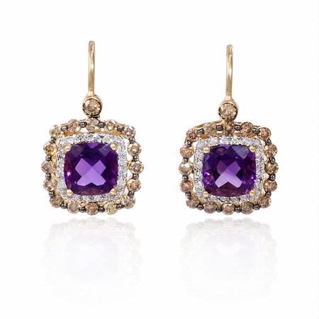 Diamond and Purple Amethyst 14k Yellow Gold Dangle Earrings