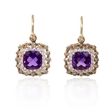1.03ct Diamond and Purple Amethyst 14k Yellow Gold Dangle Earrings