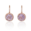 Diamond and Pink Amethyst 14k Rose Gold Dangle Earrings