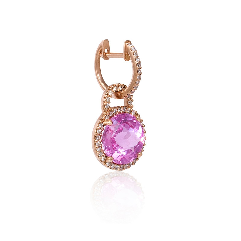 35ct Diamond And Pink Amethyst 14k Rose Gold Dangle Earrings