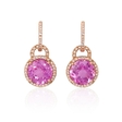 .35ct Diamond and Pink Amethyst 14k Rose Gold Dangle Earrings