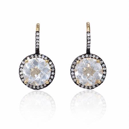 Diamond and White Quartz 14k Yellow Gold and Black Rhodium Dangle Earrings