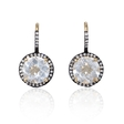 .18ct Diamond and White Quartz 14k Yellow Gold and Black Rhodium Dangle Earrings