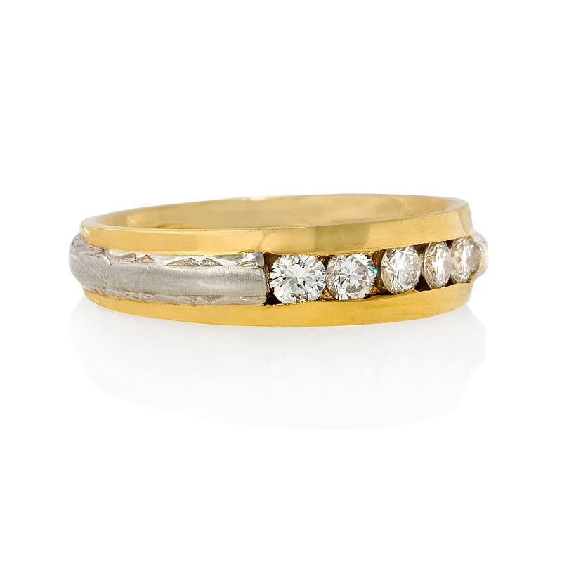 Yellow Gold Diamond Platinum: .55ct Men's Diamond Platinum And 18k Yellow Gold Wedding