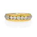 Men's Diamond Platinum and 18k Yellow Gold Wedding Band Ring