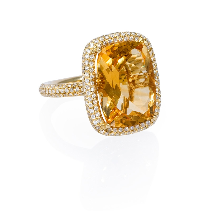 70ct and citrine 14k yellow gold ring