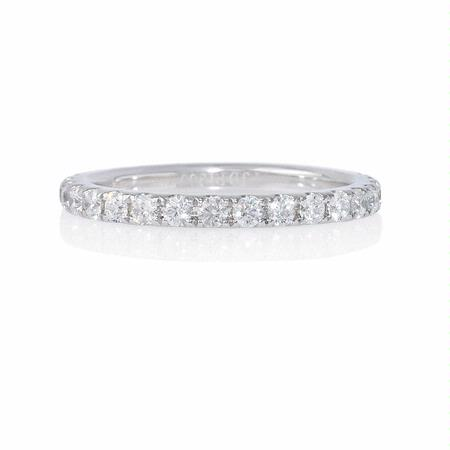Diamond .75 Carat French Pave Platinum Eternity Wedding Band Ring