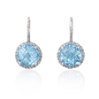 .19ct Diamond and Blue Topaz 14k White Gold Halo Dangle Earrings