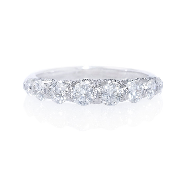 81ct Diamond Antique Style Platinum Wedding Band Ring