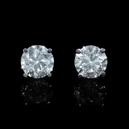 Diamond 1.60 Carats 14k White Gold Stud Earrings