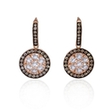 Diamond and White Quartz Antique Style 14k Rose Gold Dangle Earrings