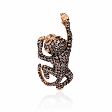 Diamond 18k Rose Gold and Black Rhodium Monkey Pendant