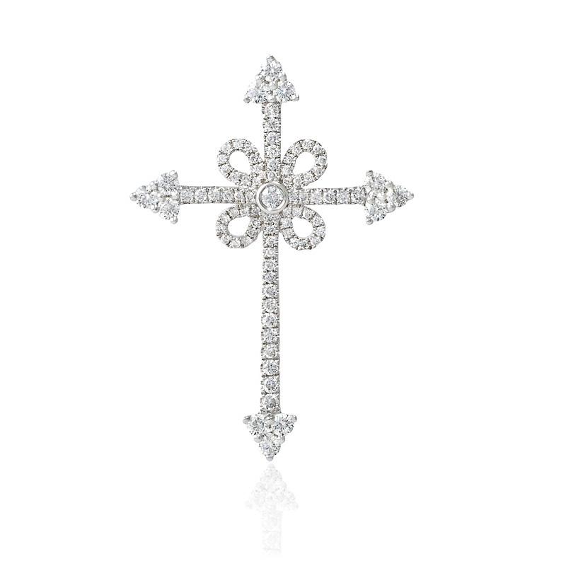100ct diamond 18k white gold cross pendant aloadofball Image collections