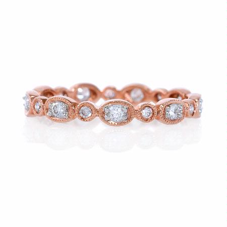 Diamond Antique Style 18k Rose Gold Eternity Ring